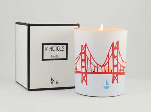 My favorite R. Nichols' Coast Scented Candle. Creates the ambiance of salt water, eucalyptus and moutains sage, as you drive into the Presidio in San Francisco.