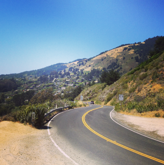 Road to Stinson. Beware of bikers.
