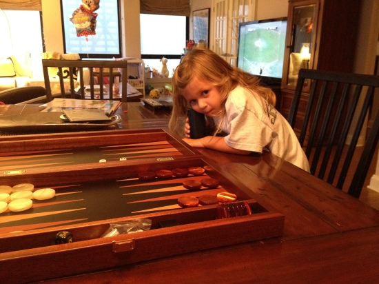 My niece, Mazie, a backgammon prodigy in the making. We start 'em young!