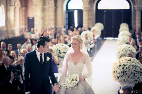 It Girl: Caroline Trentini's wedding dress designed by Olivier Theyskens.