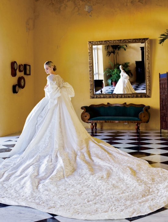 "Dubbed ""wedding of the year"" by Vogue in 2008.  Lauren Santo Domingo in Nina Ricci."