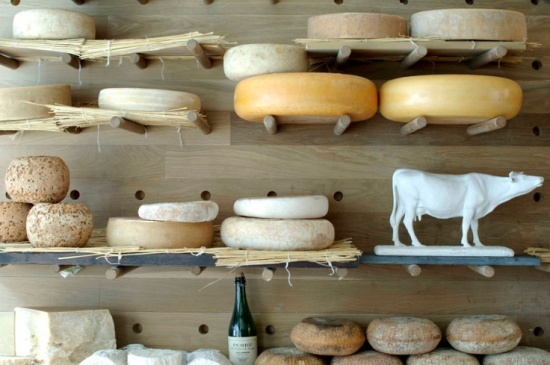 cheese display.  brilliant - like a gorgeous pegboard.
