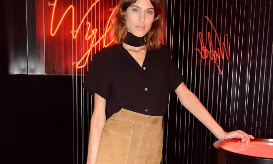 Alexa Chung wears the suede skirt