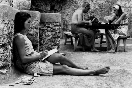 Jackie Kennedy during a trip to Ravello, Italy with her sister, 1962